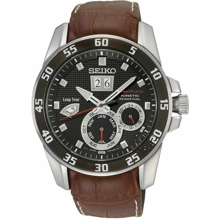 SEIKO Sportura Kinetic Perpetual Calendar Brown Leather Strap, 668€ http://www.oroloi.gr/product_info.php?products_id=30386