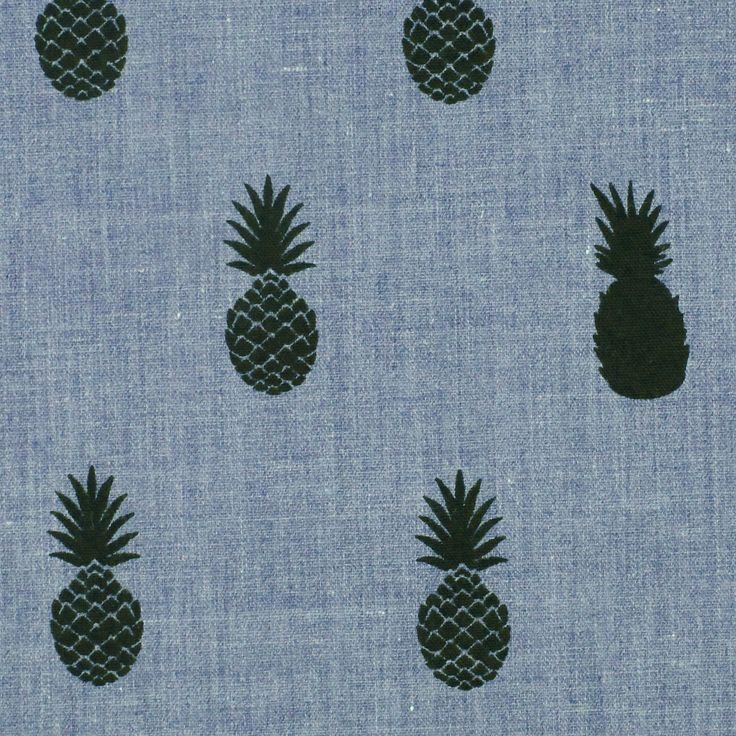 A'nanas black, misto poliestere cotone tessuto blu denim stampato di ananas, Aime comme Marie