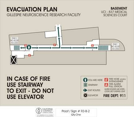 Example of evacuation sign at Gillespie Hall at the UC Irvine campus