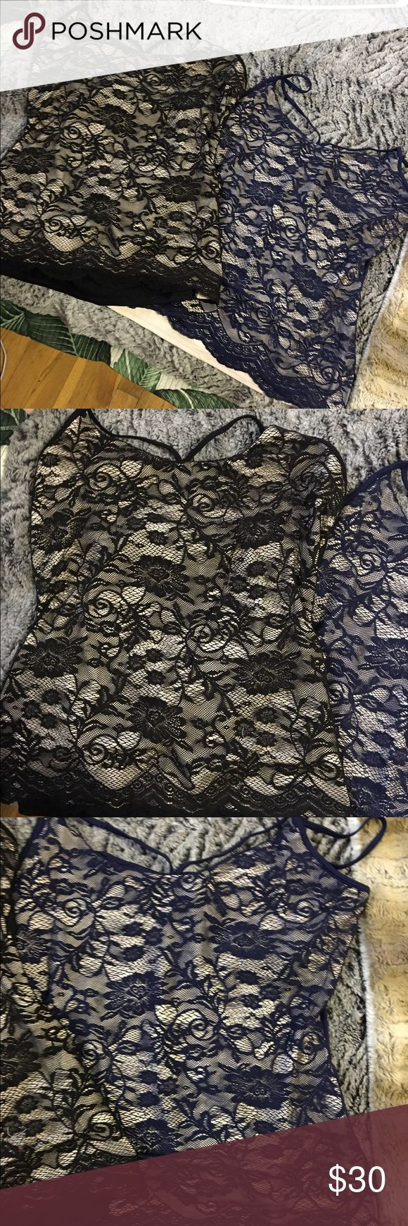 Set of two never worn lace tank tops Two never worn beautiful lace tank tops Boston Proper Tops Tank Tops