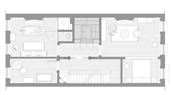 Opengemaakte slaapkamer (Buck Projects, buckprojects.com/work/#/prospect-heights-brownstone)