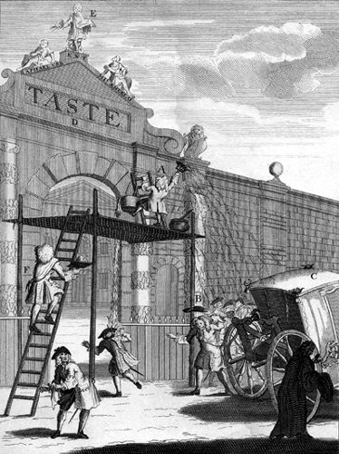 In his print The Man of Taste William Hogarth attacks Alexander Pope, the Earl of Burlington and Burlington's architect, William Kent. On a scaffolding the diminutive figure of Pope is seen vigorously whitewashing Burlington Gate and bespattering the passers-by, including the first Duke of Chandos, while Lord Burlington brings the whitewash Man of Taste - William Hogarth