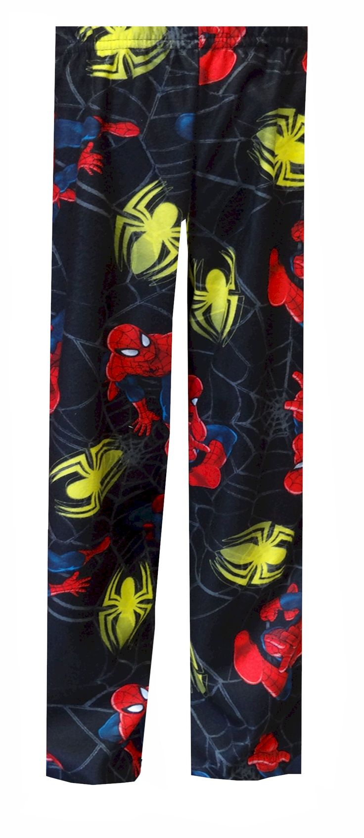 Marvel Ultimate Spiderman Black Pajama Pants Just what he needs on chilly nights! These flame resistant 100% polyester pajama pants for boys feature an all-over print with Spiderman and his spider symbol. Perfect for sleeping or lounging for a cartoon marathon! They are brushed poly, so they are warm and soft. Elastic waist, pull on styling.