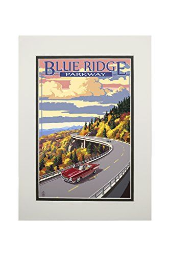 Linn Cove Viaduct, North Carolina - Blue Ridge Parkway (11x14 Double-Matted Art Print, Wall Decor Ready to Frame)