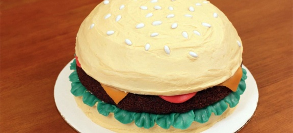 Hamburger Cake Recipe: This cake is so much fun to make. It's great for April Fool's Day, but also makes for a fun birthday cake for a little boy (or silly husband). Have fun with it.