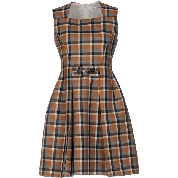 Dior Short Dress (€1.140) ❤ liked on Polyvore featuring dresses, brown, short brown dress, plaid mini dress, short dresses, sleeveless dress and flared dresses