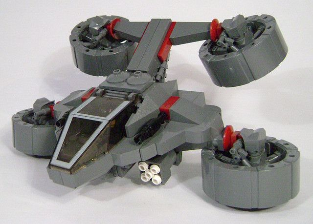 The XE-9 Wasp VTOL hunter-seeker, in all it's swooshable glory. I was building something large, but got distracted. I have seen so many versions of this basic design both in sci-fi & in LEGO by various builders that it was only a matter of time before I gave it a go too =) FULL GALLERY