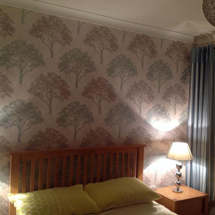 Arthouse Sophie Conran Alderwood Duck Egg Trees Glitter Effect Wallpaper. Living  Room ...