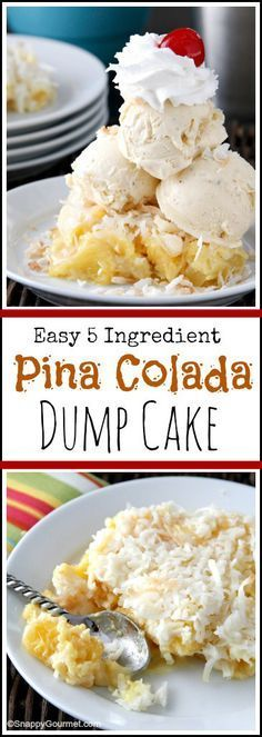 Pina Colada Dump Cake Recipe - easy homemade dessert based on the cocktail with only 5 ingredients including pineapple, coconut, and rum! Plus a giveaway! SnappyGourmet.com