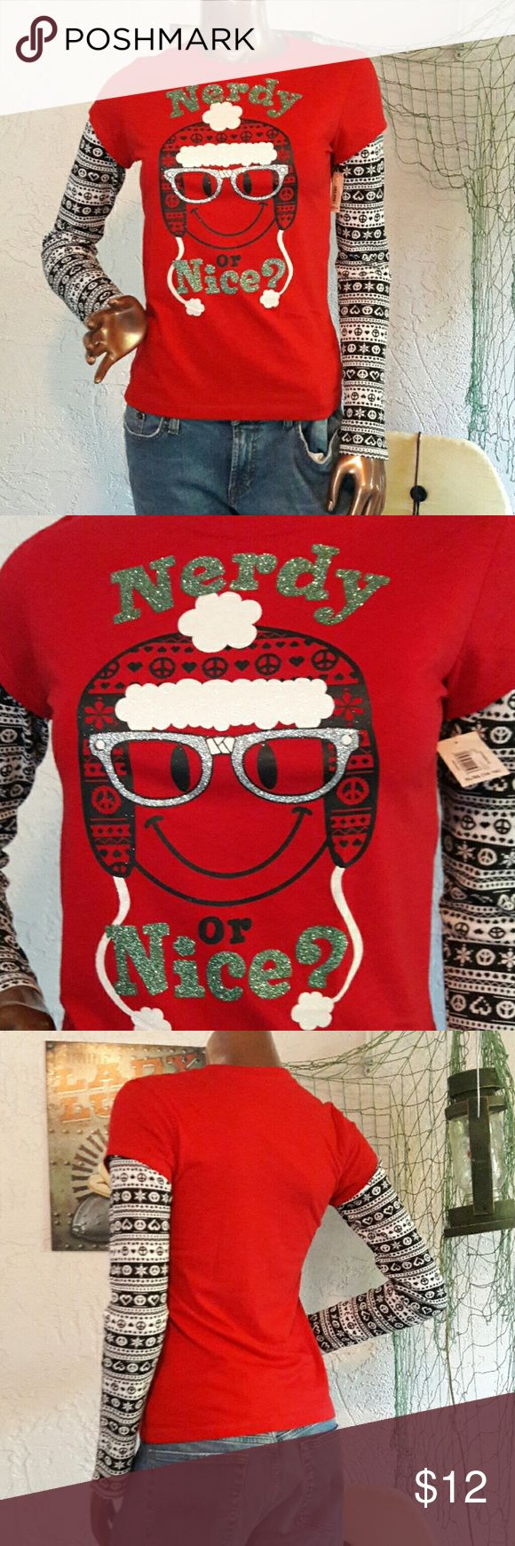 NWT Holiday Time Nerdy or Nice Tshirt Brand Holiday Time Size XL Juniors runs small like a medium  Red Tshirt with Extended Sleeves in Black& White Pattern. Graphic Tshirt with Nerdy or Nice glitter accents. New with Tags Bundles available with discounts Holiday Time Tops Tees - Long Sleeve