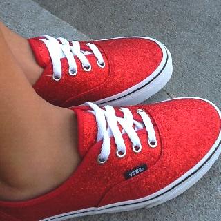 sparkly red vans