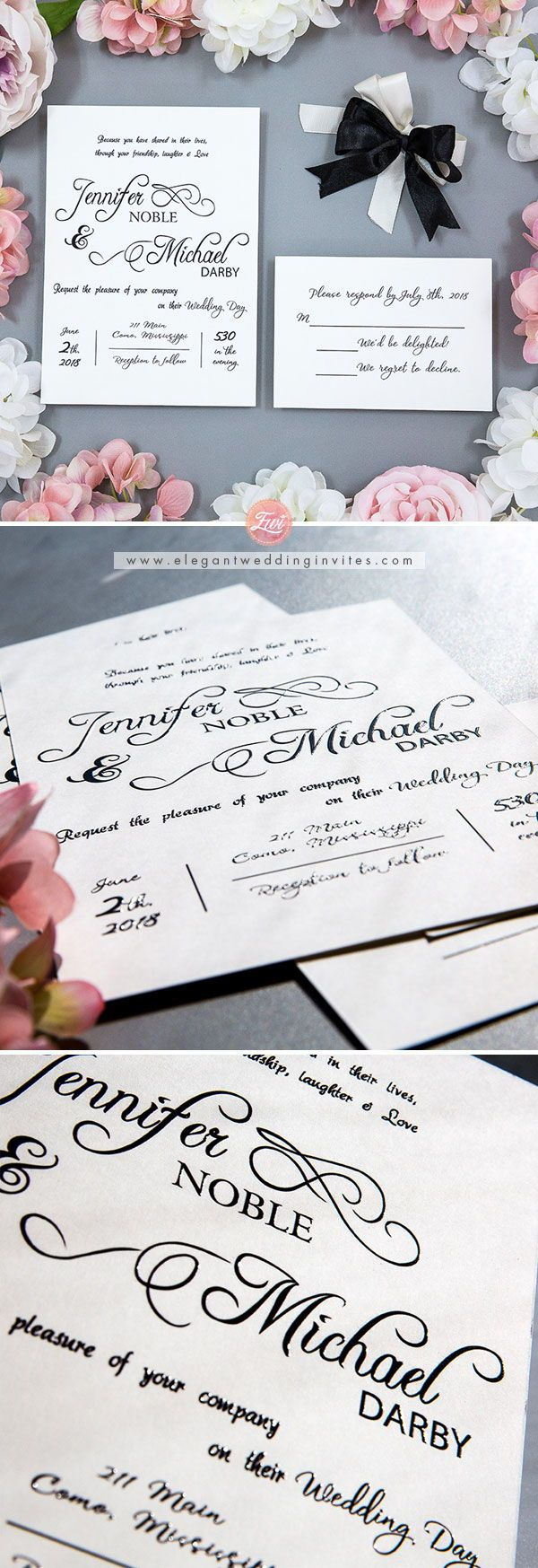 how to get directions for wedding invitations%0A Classic Black and White Handwriting UV Printing Wedding Invitations EWUV      UV  WeddingInvites  blackandwhitewedding