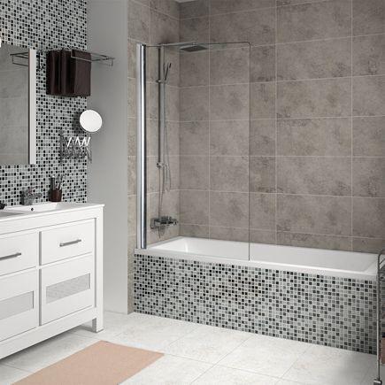Mampara para bañera Sensea QUADDRO 1 HOJA CROMO TRANSPARENTE Ref. 16126425 - Leroy Merlin