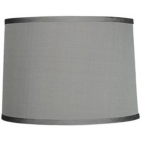 Platinum Gray Dupioni Silk Lamp Shade 13x14x10 (Spider) - #96962 | Lamps Plus