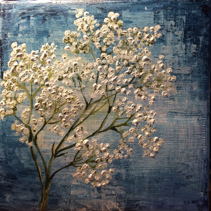 White flowers 20*20 cm by Monica Lindeberg
