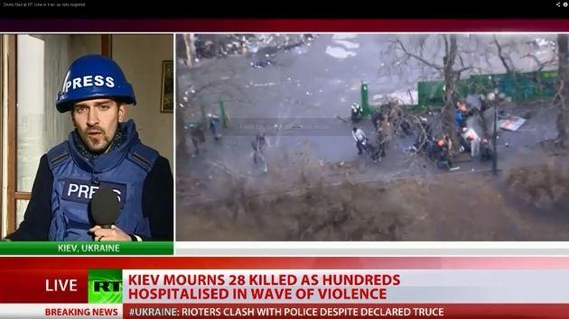 Un equipo de RT baleado por un francotirador en Kiev. - #Europa #Ucrania #Kiev #Maidán #RT #RussiaToday #Press #prensa #francotiradores #snipers