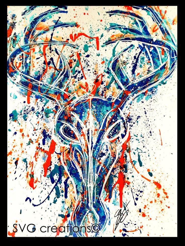 Tête de cerf sur toile à l'acryique 18 x 24 / Deer skull on canvas by acrylic de la boutique SVGCreations13 sur Etsy