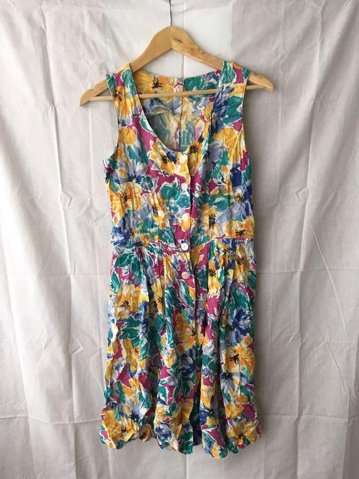 Vintage Floral Sundress Beachdress 80s Retro Festival Boho Hipster  | eBay