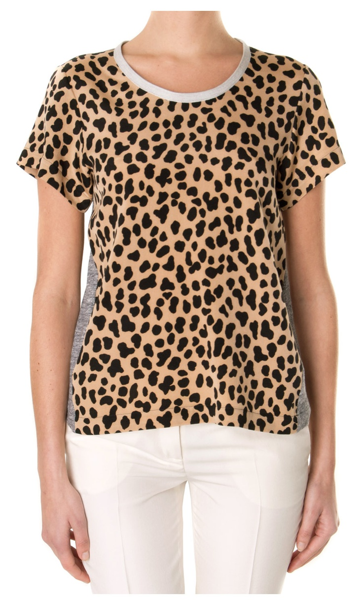 Sea Ny Silk animal printed t-shirt - contras jersey on back