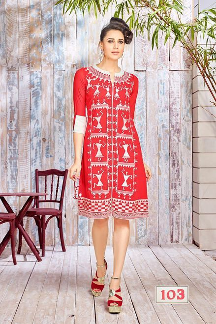 Amazing Red Faux Georgette Kurti Top3039
