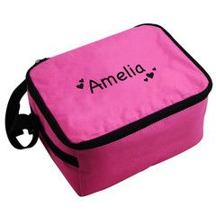 Pink Hearts Lunch Bag | Personalise | Back to School | Absolutely Adorable