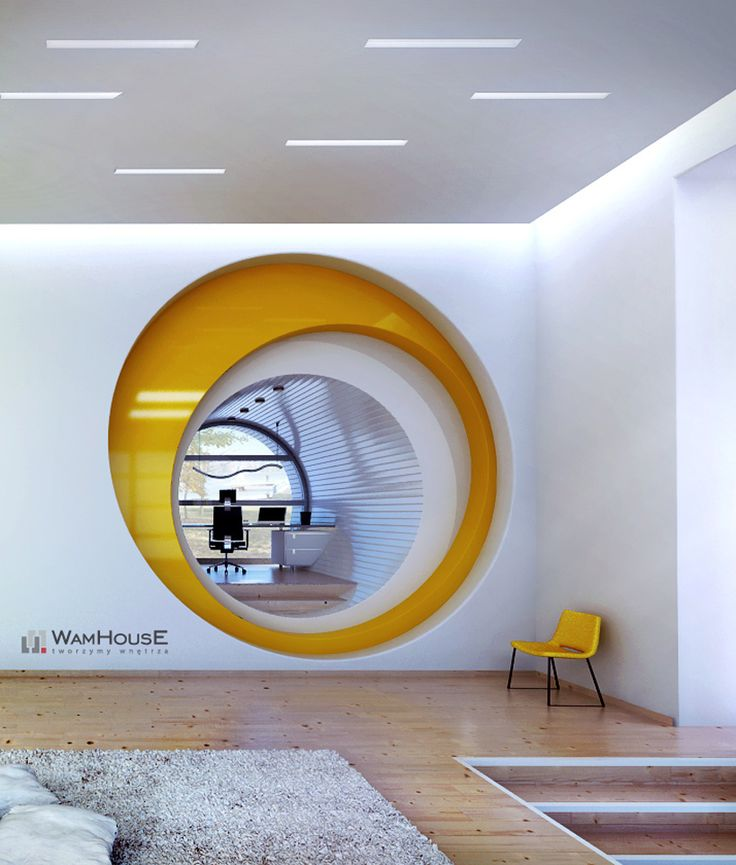 This Is A Presentation Of A Modern Yellow Interior Located In The Tuchola  Forest By A Nearby Lake.