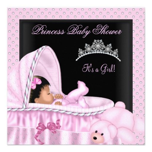 african american little princess baby shower girl card, Baby shower invitations