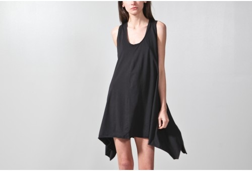 BLACK JERSEY SWING DRESS / oak