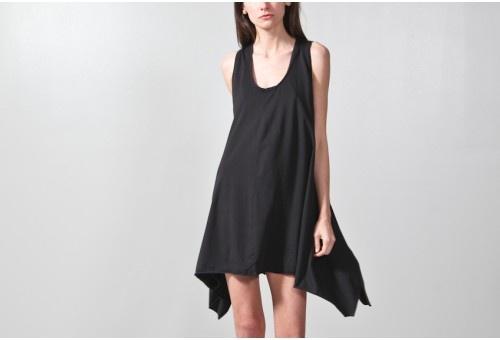 BLACK JERSEY SWING DRESS / oak