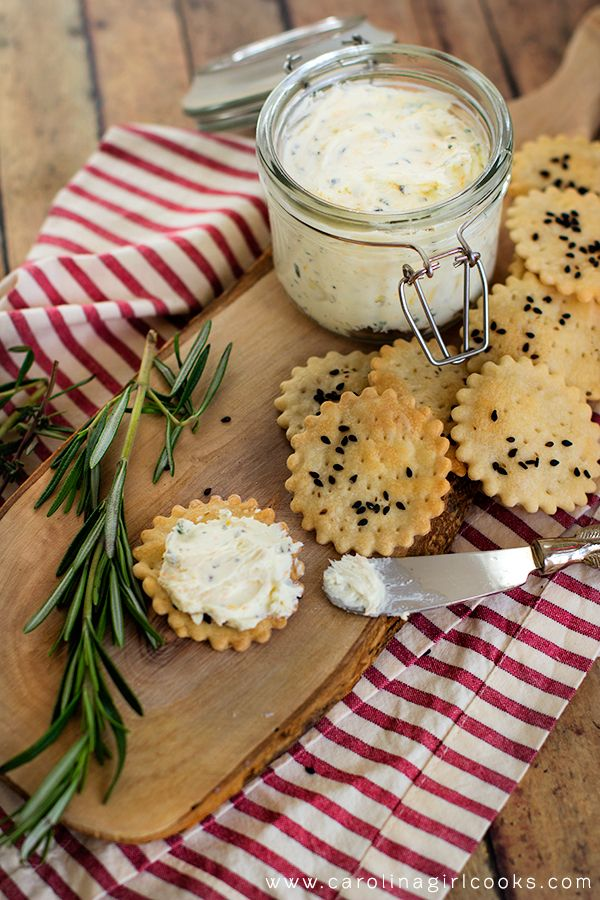 Whipped Herbed Goat Cheese and Homemade Crackers Pinned Via: Carolina Girl Cooks http://www.carolinagirlcooks.com/whipped-herbed-goat-cheese-and-homemade-crackers/