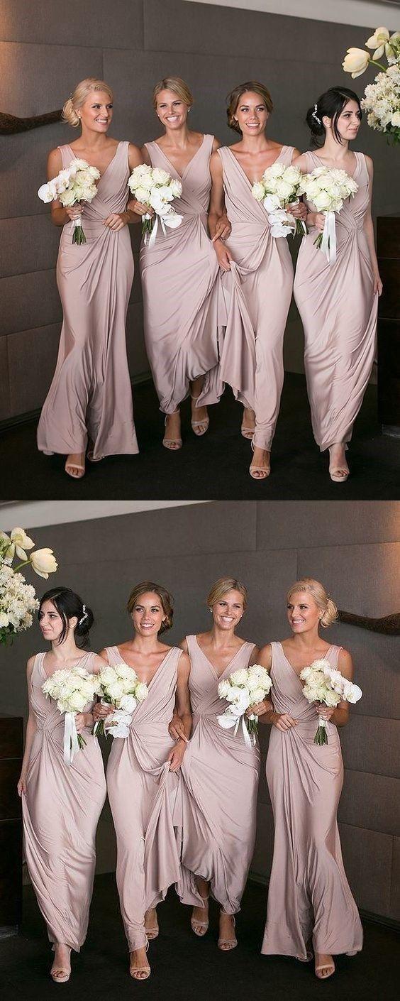 V-Neck Pleated Bridesmaid Dress, Pink Soft Satin Bridesmaid Dress 1561