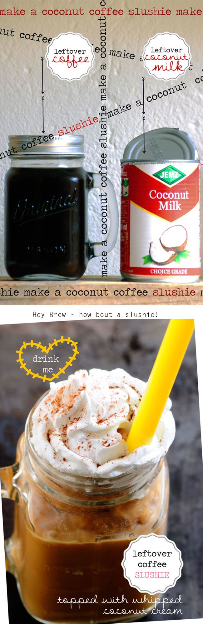 Have a bit of leftover brew in the plunger? Save it for a yummy Coffee Coconut Slushie! Slurp me now!