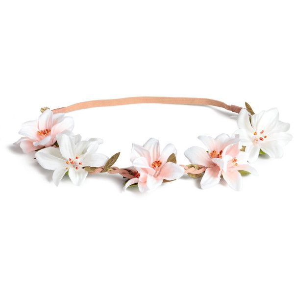 Hairband with flowers 49.90 ❤ liked on Polyvore featuring accessories, hair accessories, white headband, head wrap headband, white flower hair accessories, embellished headband and hair band accessories