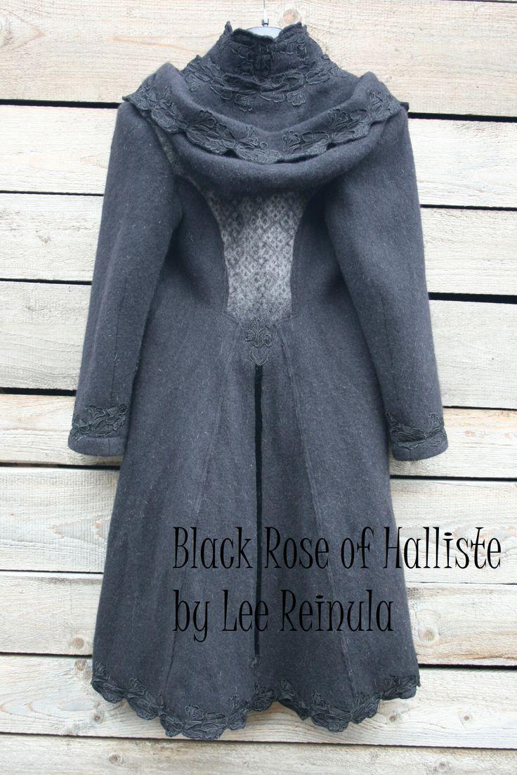 Woollen knitted coat Black Rose of Halliste (Halliste Must Roos) by Lee Reinula 2014