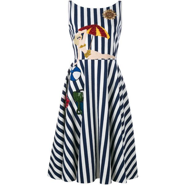DOLCE & GABBANA Sleeveless Stripe Beach Applique Dress (£1,380) ❤ liked on Polyvore featuring dresses, skater skirt, blue summer dress, blue striped dress, cotton beach dresses and cotton summer dresses