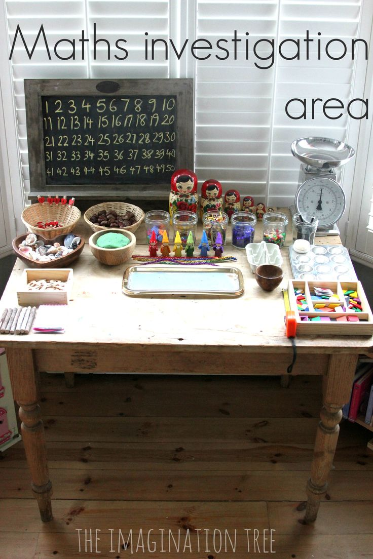 set up a math investigation area so kids can have open-ended learning time with lots of inviting materials