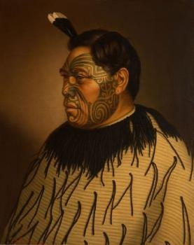 Tamati Waka Te Puhi oil on canvas painting by G. Lindauer. (1878) At Auckland Art Gallery.