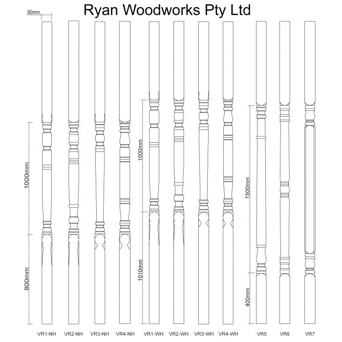 Turned Timber Verandah Posts - VR1 Verandah Post - Melbourne, Australia - Ryan Woodworks