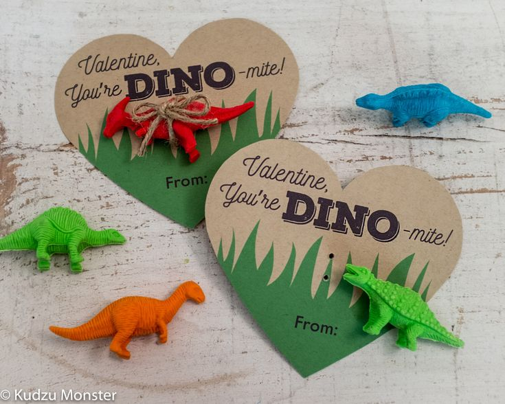 Printable Dinosaur Valentines Hearts for small dinosaur toy or dino eraser You're Dino-mite Instant Download DIY easy valentine's day gift by KudzuMonster on Etsy https://www.etsy.com/listing/265200281/printable-dinosaur-valentines-hearts-for