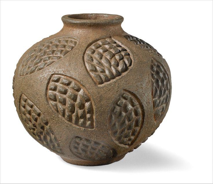 Axel Salto: Circular roche ceramique vase. H. 18 cm.
