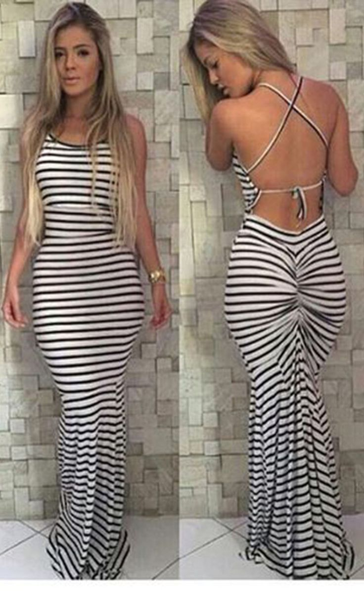 Highlight with the backless and stripe design, this dress can make you more beautiful and sexy. And this dress can show your perfect figure. So come and get one you prefer. Material: Polyester Size: S