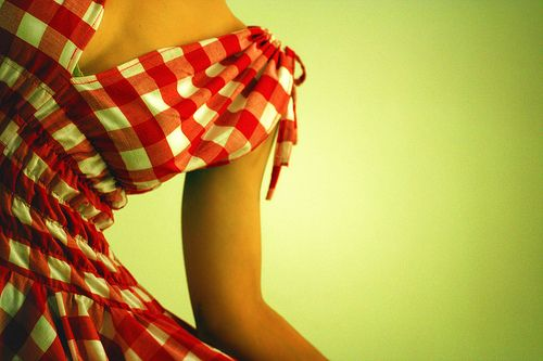Red and white gingham dress