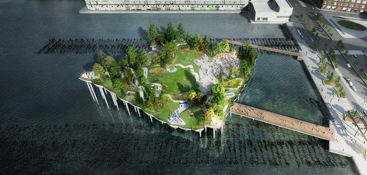 futuristic !130 million floating park in the Hudson River...