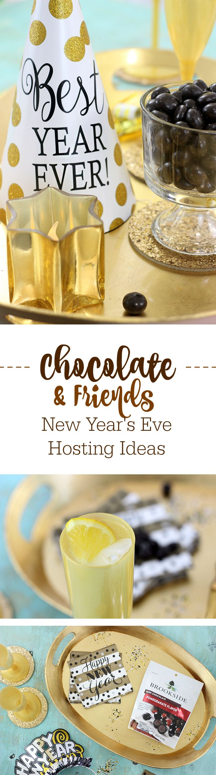 Chocolate and Friends. Get ideas on the best way to host a casual New Year's Eve Gathering or Party. #AD