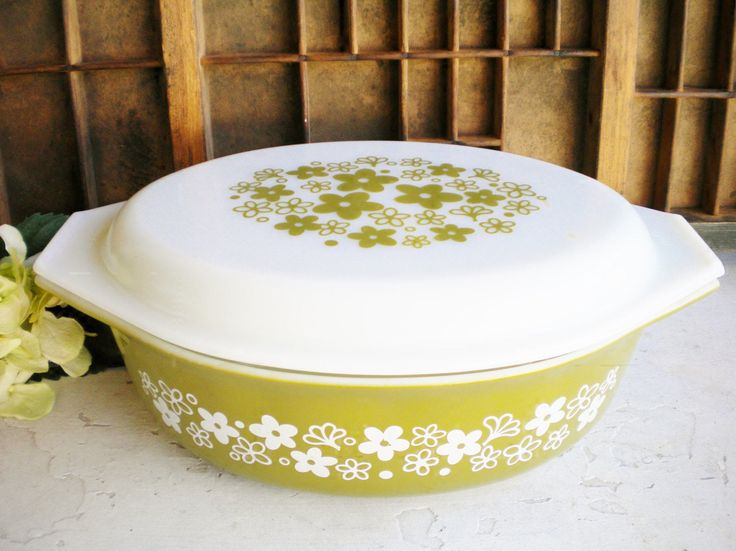 A personal favorite from my Etsy shop https://www.etsy.com/listing/548238993/vintage-pyrex-casserole-dish-with-lid