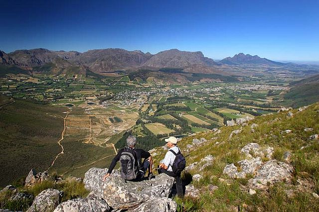 Breathtaking view over the Franschhoek Valley from the Mont Rochelle Nature Reserve hiking trail