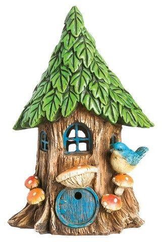 "New Creative 8.75"" Forest Foliage Solar Fairy House - Multi Color - Evergreen Enterprises afflink"