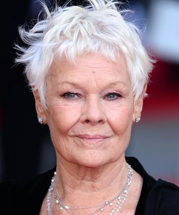 Judi Dench-Beautiful white hair, tasteful strands of diamonds.