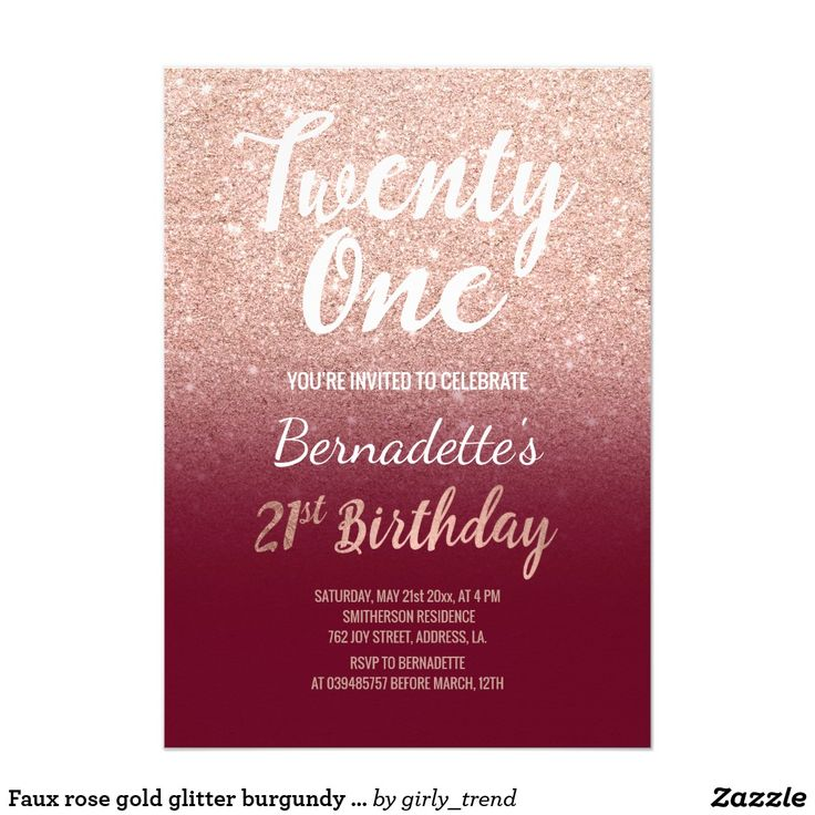 Faux Rose Gold Glitter Burgundy 21st Birthday Invitation