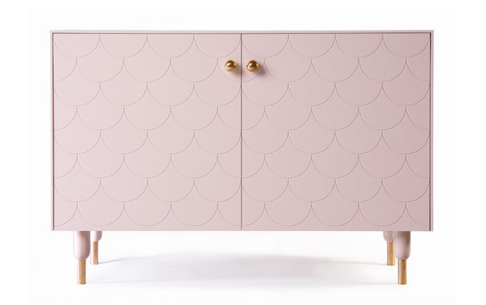 A Ikea Cabinet in Big Fish Fronts in Pink by Superfront, Remodelista Upgrading Ikea, love this!